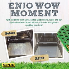 Oven Wow Moment with the ENJO Oven Glove, a little Marble Paste and ENJO's super-absorbent Kitchen Miracle.