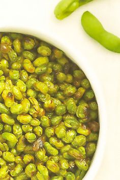 Roasted edamame:  1 pound frozen shelled edamame  1/2 tsp. sea salt  1/2 tsp. fresh ground pepper  1 1/2 tsp. evoo    Preheat oven to 400*.  Lightly spray baking sheet.  Thaw and drain the beans, pat dry.  Toss w/ the salt, pepper and oil.  Spread the beans on the sheet and bake for 50 to 60 minutes.