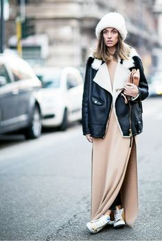 Dress down a nude maxi dress with an oversized, shearling moto jacket and chunky-knit beanie