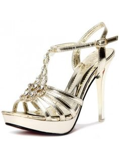 36cbfa4a8cc7 Kvoll Classical Diamond Design T Strap Gold PU High Heel Sandals