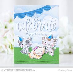 Smitten Kittens Stamp Set and Die-namics, Fringed Scallop Borders Die-namics, Celebrate Die-namics, Basic Stitch Line Die-namics, Mini Cloud Edges Stencil - Keeway Tsao  #mftstamps