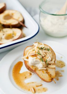 Roasted Pears with Maple Ricotta Cream