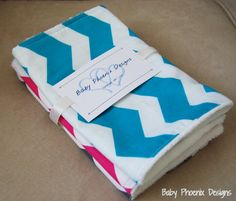 Baby burp cloth set! Chevron and Chenille or Terry Cloth!  Turquoise Pink and Grey - baby girl burp rags #bestofEtsy #gifts