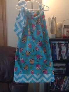 Teal Owl/Cheveron Pillowcase Dress - Size 8 on Etsy, $25.00