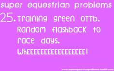 Super Equestrian Problems. I didn't train my OTTB, but he did have his flashback days.