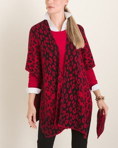 Animal-Print Jacquard Ruana Wrap and Bag Chico Clothing, Women's Clothing, Simple Outfits, Winter Outfits, Ruana Wrap, Get The Look, Designing Women, Fashion Brands, Style Inspiration