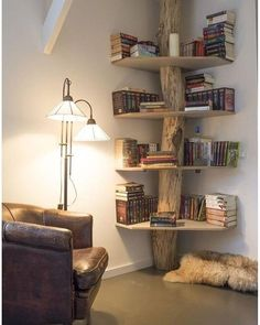 corner bookshelf and lots of other clever ideas