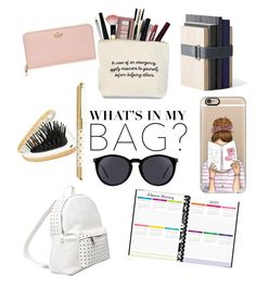 """Back to school!😭"" by paola-moretti ❤ liked on Polyvore featuring 7 Chi, Accessorize, Casetify, Kate Spade, Menu, Yves Saint Laurent, backpack and inmybackpack"