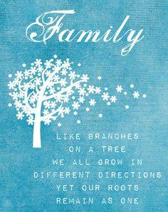 Familia, como ramas de un árbo, todos crecemos en diferentes direcciones pero nuestras raices permanecen como una única.