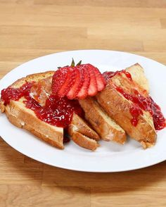 Ricotta Chocolate Chip Stuffed French Toast With Strawberry Syrup.  YUMMY!!!!