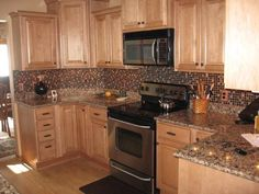 Maple Kitchen Cabinet Backsplash Tile Patterns Maple Honey Spice