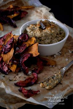 Roasted Eggplant Hummus with Veggie Crisps | Wolf and Willow - Designing a Super Natural Life