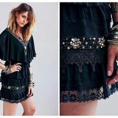 ⚡Free People black tiered mini dress This dress is stunning! Chiffon, lace, sequins and embroidery, what more can a girl want  Throw on some studded booties and a leather jacket and stay out until the sun goes down. This rocks! Free People Dresses Mini