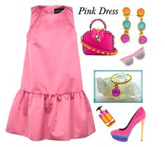 """""""Pink Dress - Evangelos Jewellery"""" by evanangel ❤ liked on Polyvore featuring Giorgio Grati, B Brian Atwood, Dolce&Gabbana, Le Specs and Prada"""
