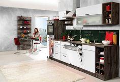 Küchenzeile »Sevilla«, mit Elektrogeräten, Breite 310 cm, weiß, eichefarben vintage