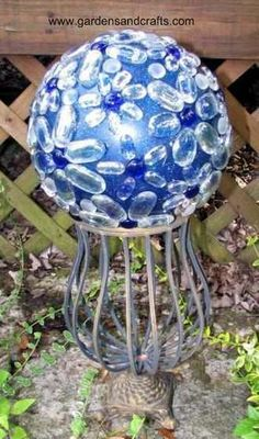 DIY ~ Garden Art Glass Globes on a Bowling Ball