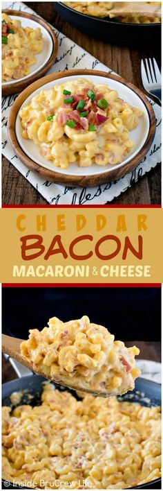 Cheddar Bacon Macaroni and Cheese - this easy dinner is loaded with bacon & cheese and can be on your table in less than 30 minutes. Great meal recipe for busy nights!
