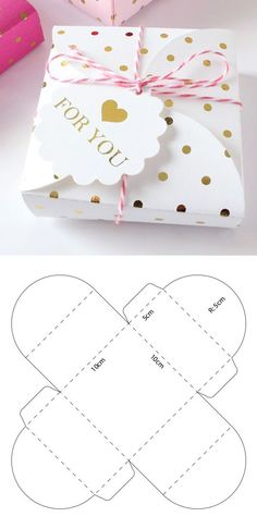 Discover thousands of images about Descarga gratis el molde desde mi sitio web Diy Gift Box, Diy Box, Diy Crafts For Gifts, Crafts For Kids, Diy Paper, Paper Crafts, Paper Box Template, Box Patterns, Creative Gift Wrapping