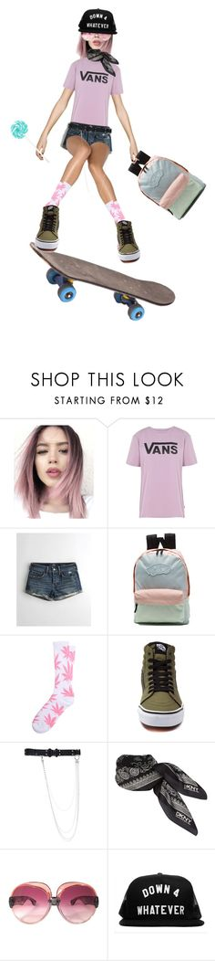 """Pop Shove It"" by the1standthe15th ❤ liked on Polyvore featuring Vans, Hollister Co., HUF, Alyx, DKNY, Yves Saint Laurent and skaterchicks"