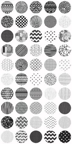 Big Set of Fifty Cute Black Hand-Drawn Doodle Seamless Background Patterns. $7!!