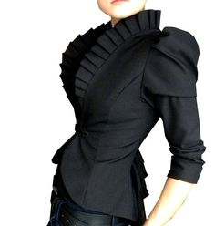 Structured and ruffled black blouse jacket; perfect for a high-powered corporate setting, avant garde stage work.