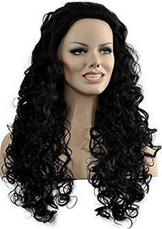 Diy-Wig Fashion Black Long Curly Hair Party Full Wigs Cos…