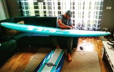 Waxing the new surfboards