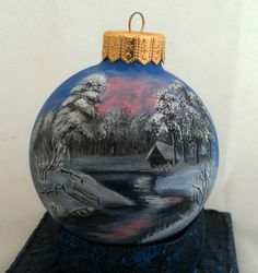 Custom order, Hand painted Christmas ornament by Julia Moshack (JaN:)Art), Christmas glass ball, Personalized gift. If you`d like to have special hand painted thing please convo Julia on SweetenYourHome.etsy.com