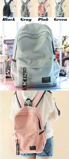 Fresh Waterproof Pure Color Letters Belts School Bag Young Simple Travel Backpack for big sale! #young #fresh #backpack #Bag #college