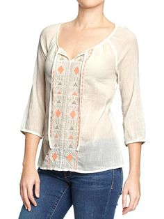 Women's Embroidered-Gauze Peasant Tops Product Image