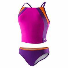 Speedo-Girls-2-piece-Swimsuit-Tankini-6-7-8-10-12-14-Pink-Purple-Splice