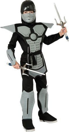 Childs Deluxe Black/Grey EVA Ninja Costume $25.57 Child's Deluxe Black/Grey EVA Ninja costume Includes Jumpsuit with molded Armor & Mask Only. Accessories Can Be Purchased Separately. New Halloween Costumes for 2013