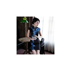 Floral Cap-Sleeve Cheongsam (€17) ❤ liked on Polyvore featuring tops, dresses, women, silk top, floral print tops, floral tops, red top and floral silk top