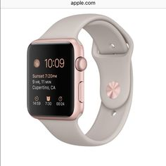 Apple Watch 42 mm rose gold aluminum watch with stone colored sports band. The two sizes of bands are included in the box along with the charger. This is practically new with only minor scratches. It's works perfectly I just don't use it as much as I thought I would. ABSOLUTELY NO TRADES Apple Accessories Watches