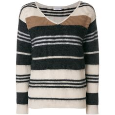 Brunello Cucinelli striped V-neck jumper ($1,725) ❤ liked on Polyvore featuring tops, sweaters, v-neck sweater, striped top, striped jumper, multi color striped sweater and stripe sweaters