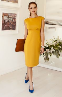 3d9d4d3cf0ee Pippa Shift Day Dress Artisan Gold by Alie Street. Beautiful mustard yellow  dress. Details to love – Classic straight neckline