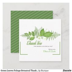 Shop Green Leaves Foliage Botanical Thank You Enclosure Card created by Ruxique. Wedding Thank You, Wedding Cards, Day Up, Egg Shells, Leaf Design, Green Leaves, Special Day, Your Cards, Thank You Cards