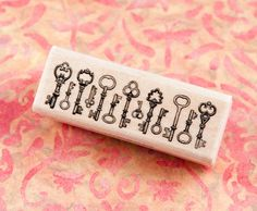 Wood Mounted Rubber Stamp - Vintage Key Border