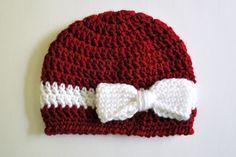 gorro em crochet com laço
