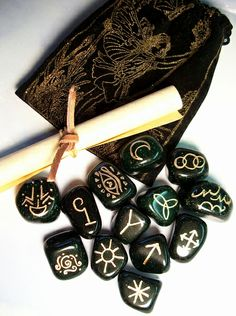 Witches Runes.  I love working with these runes.  My set is moonstone.  Gorgeous!