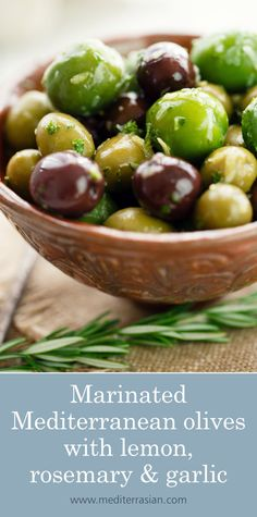 A selection of plump and juicy olives marinated and infused with extra virgin olive oil, white wine vinegar, lemon, rosemary and garlic. Antipasto Recipes, Appetizer Salads, Appetizer Recipes, Potluck Appetizers, Pickled Olives, Marinated Olives, Olive Recipes, Good Enough To Eat, Saveur