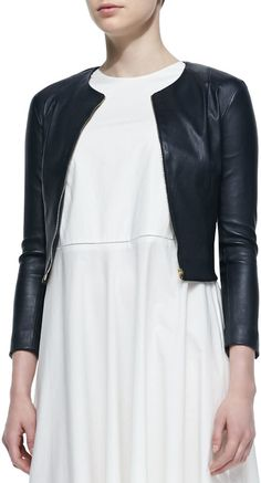 THE ROW Stanta Leather Cropped Zip Jacket, Navy