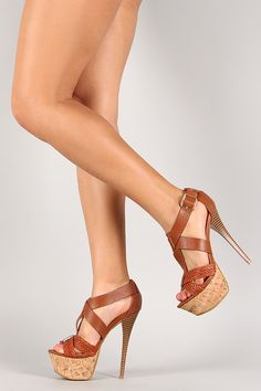 Anne Michelle Woven Criss Cross Stiletto Platform Heel