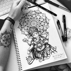 Ganesh mandala / Tattoo commission on Behance Mandala Ganesh, Arte Ganesha, Ganesha Tattoo Lotus, Lotus Tattoo, Ganesha Tattoo Sleeve, Mandala Tattoo Design, Dotwork Tattoo Mandala, Tattoo Designs, 42 Tattoo