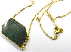 New style African chrysocolla gemstone electroplated brass cute necklace jewelry #MagicalCollection #Pendant