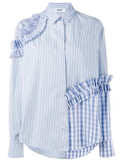 MSGM stripe and gingham ruffle shirt