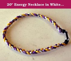 "20"" Energy Necklace in White / Yellow / Purple Color. Titanium Sports Chain."