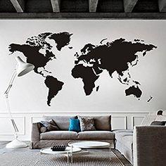 """Carte du monde sticker mural amovible en vinyle Motif carte carte Décoration Murale Carte du Monde Sticker mural Salon Art Decor, Vinyle, noir, 40""""hx80""""w"""