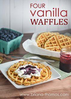 Four Vanilla Waffles - a full-size batch of my Fuel Pull Strawberry Shortcake Waffle!