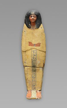 This coffin contains the plundered mummy of a royal infant who may have lived during the first part of Dynasty 18 (ca. 1570–1450 B.C.), and was reburied in this simple wooden child's coffin from a later era